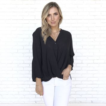 Cute As A Button Black Blouse