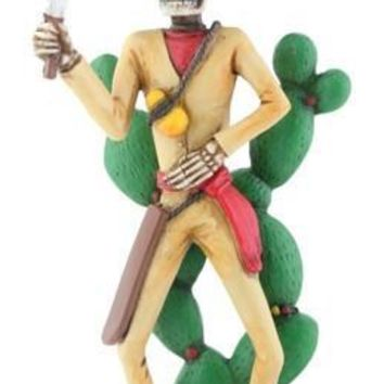 Bandito with Nopales Day of the Dead Statue