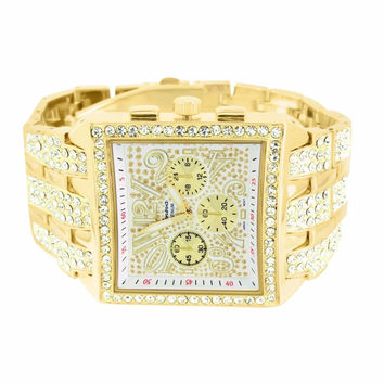 Gold Tone Watch Simulated Diamond Designer