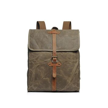 Vintage Waterproof Wax Canvas Backpack Rucksack  With Crazy Horse Leather