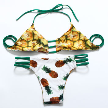 Fashion Two Sides Wear Print Multi-rope Bandages Triangle T Underpant Straps Bikini Set Two-Piece Swimwear