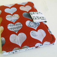 Basic Kindle Cover for kindle 4 or 5, Loves Music hearts and sheet music Valentine's Day