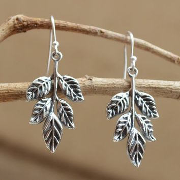 925 Sterling Silver Leaf Earrings,Plain Leaf Earring Silver Boho Oxidized Plain Unique Leaf Earrings-Gift For Gypsy leaf earrings-gift idea