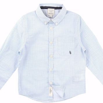 CARREMENT BEAU - Classic Boy Long Sleeve Summer Shirt, Blue Check