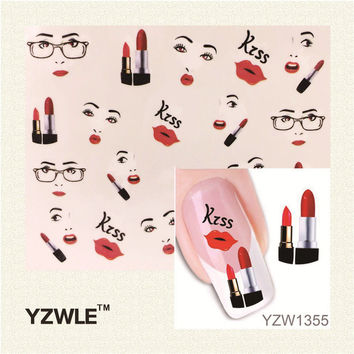 YZWLE 1 Sheet Sexy Lips Kiss Design Nail Art Stickers Water Transfer Tattoo Decals Decoration DIY Manicure Tools