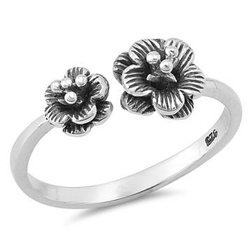 Sterling Silver Women's Ring Dual Exotic Flower 9MM