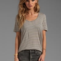 19 4t Short Sleeve Scoop Neck Tee in Navy/Beige Stripe from REVOLVEclothing.com