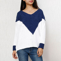 V-Neck Chevron Pattern Color Block Ribbed Knit Sweater