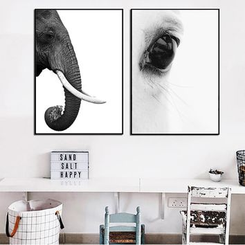 SELFLESSLY Black and White Poster Print Canvas Painting Elephant ,Horse Eyes Animal Painting Wall Art For Living Room Decor