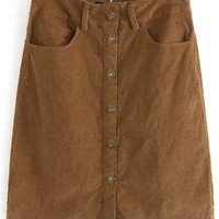 Brown Button Fly Curduroy Skirt