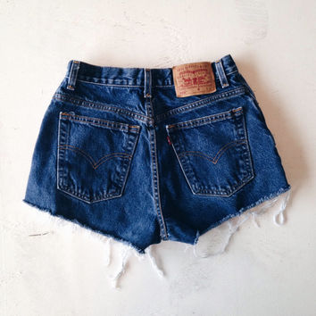Levi High Waisted Denim Shorts Dark Jean Shorts Size 4/5