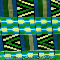 Green African Kente Fabric / print
