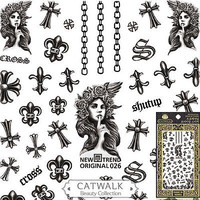 Cross Chain Tattoo Nail Art Stickers Manicure Decals USA SELLER FAST SHIP