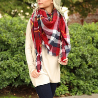 Oversized Blanket Scarf - Red Plaid