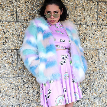 RAINBOW CLOUD FAUX FUR JACKET *BACK IN STOCK* – tibbs & BONES