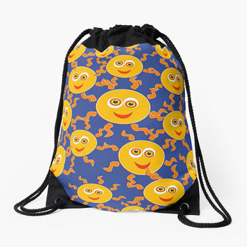 'Happy Emojis' Drawstring Bag by Dizzydot