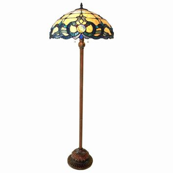 "Doutzen, Tiffany-Style 2 Light Victorian Floor Lamp 18"" Shade"