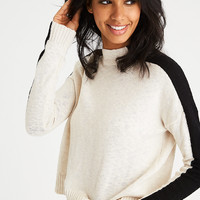 AEO Colorblocked Mock Neck Sweater, Cream