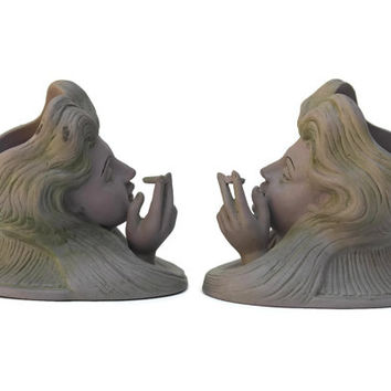 Schafer Vater Art Nouveau Cigarette Holder. Bisque Porcelain Figurines of Smoking Women and Tray. Antique Lilac Porcelain with Green Wash.