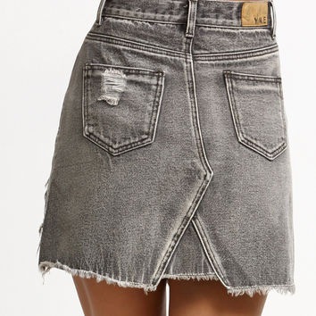 Grey Ripped High Waist Denim Skirt