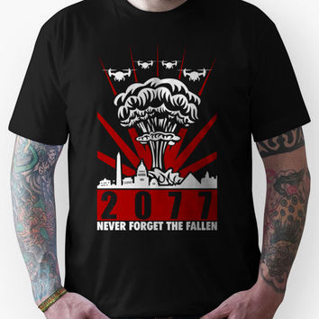 Fallout 3 / New Vegas - 2077 Never Forget The Fallen V2 Unisex T-Shirt