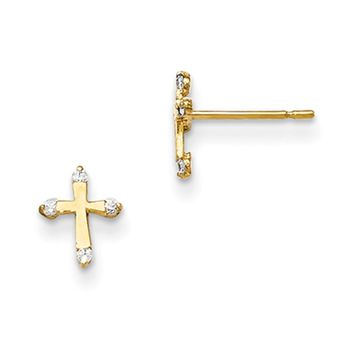 14kt Yellow Gold Pommy Cross with CZ Accents Girls Stud Earrings