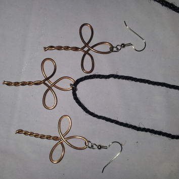 Bronze wire twist wrapped cross necklace and earring jewelry set