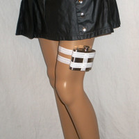 Flask Garter - WITH Flask  - Bright White - White lingerie