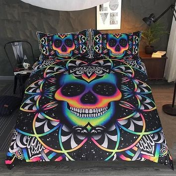 Skull Duvet Cover Gothic Bed Set 3-Piece