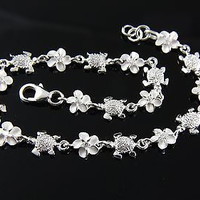 STERLING SILVER 925 HAWAIIAN BABY SEA TURTLE 6MM PLUMERIA FLOWER LINK BRACELET