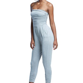 Strapless Tube Top Soft Crepe Grey Stretchy Skinny Leg Jumpsuit