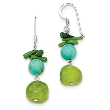 Sterling Silver Jade/Green Coral/Dyed Howlite Earrings
