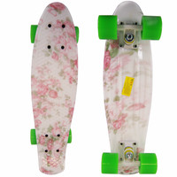 Flowers Penny Style Cruiser Board 22 inch Retro Plastic Skateboard Complete