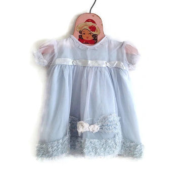 Vintage Baby Dress-Light Blue with Lace-Doll Clothes-Ribbons-Ruffles-Infant-6-12 Months-Organza with Taffeta Slip