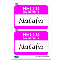 Natalia Hello My Name Is - Sheet of 2 Stickers