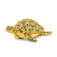 Gold Sea Turtle Green Crystal Trinket Box