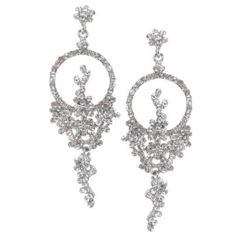 Elegant Trendy Design Phoenix Bird With Clear Crystal Stones Chandelier Bridal Special Ocasion Cocktail Dangle Silver Plated Earrings
