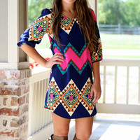 Pop of Pink Aztec Shift Dress - Hazel & Olive