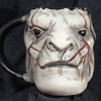 Lord Of The Rings Characters Azog ,Pale Orc Mug, Ceramic, Realistic Face Mug, Gothic, Lotr Mug, Handmade, Handcrafted