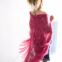 Crochet shawl boho fashion fringe wrap in raspberry, Roxanne Shawl, under 100