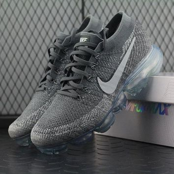 Best Online Sale Nike Air VaporMax Vapor Max 2018 Flyknit Men Grey Silver Sport Running Shoes 849558-002