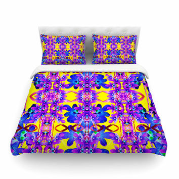 """Dawid Roc """"Tropical Orchid Dark Floral 3"""" Purple Yellow Featherweight Duvet Cover"""