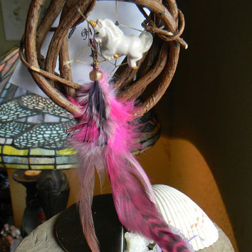 "Mystic Unicorn Fancy 3"" Round Dream Catcher"