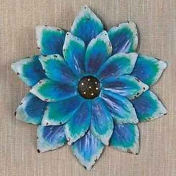 Blue Hand Painted Metal Wall Flower Sculpture Fence Patio Porch Garden Art Decor