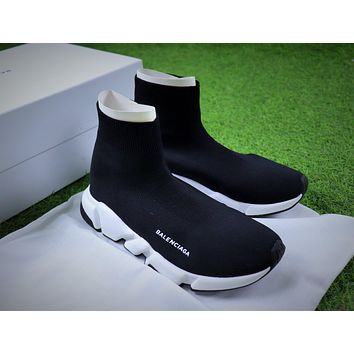 Balenciaga Speed Stretch Knit Mid Sneakers Black / White Socks Shoes #2