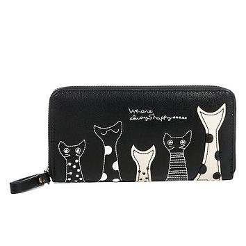 2017 New Cat Cartoon Printed Women Wallets Long Wallet Female Card Holder Casual Zipper Ladies Clutch PU Leather #16Wa31/9-2
