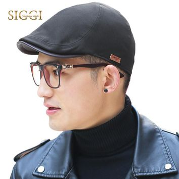 SIGGI Mens flat duckbill hat newsboy irish driving cap PU visor spring summer 6 panels 57-59cm fashion 89047