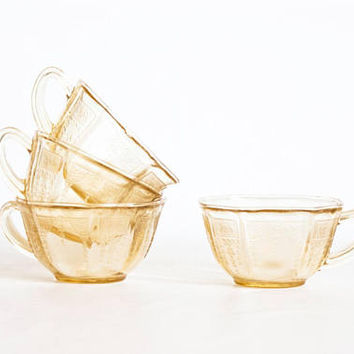 "SET of 4 Vintage Depression Glass ""Princess"" Teacups, Hocking Yellow Topaz 1930s Tea Cups, Teatime Decor"