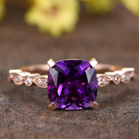 Amethyst Engagement Ring and Diamond 14k Rose Gold Cushion Purple February Birthstone Promise Ring