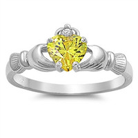 November Yellow Topaz CZ Silver Claddagh Ring -